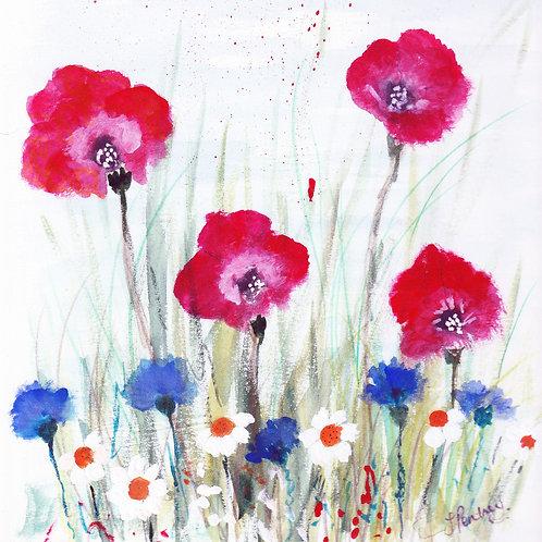(30) Poppies & Cornflowers Greeting card
