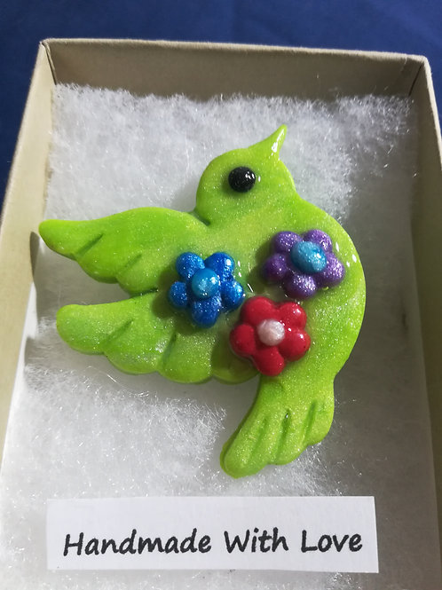 Artisan Ooak Lime Green Dove Brooch with flowers