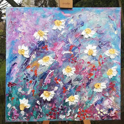 Artisan oil daisies on canvas