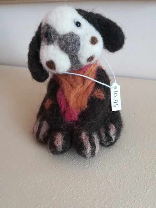 Artisan Ooak Brown and white spotty dog