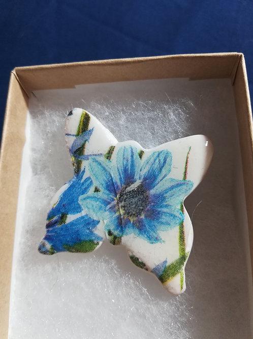 Ooak Cornflower pattern Butterfly Brooch