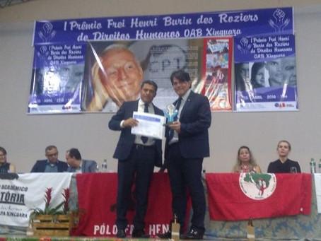 Associado da AMATRA 8 recebe prêmio Frei Henri de Direitos Humanos