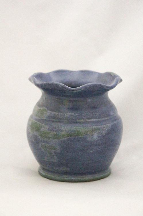 Terre Ocre Vase collerette bleu