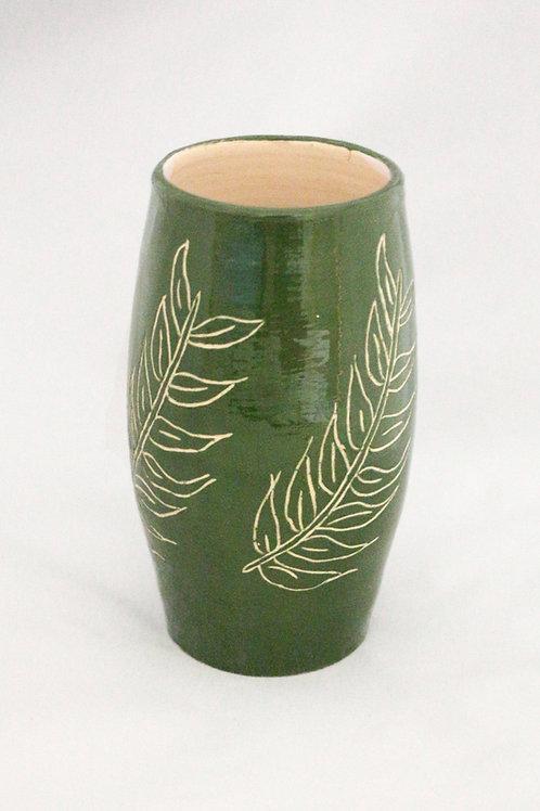 Terre Ocre Grand vase Feuilles de Frêne
