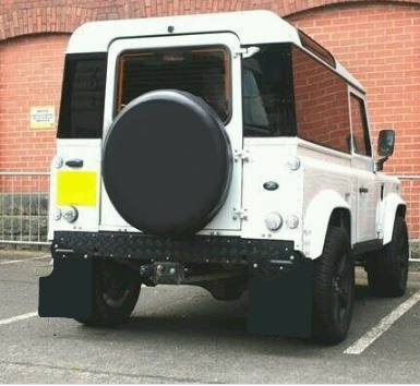 Land Rover Defender 90 Puma 2.2 tdci Gloss black Mud Flap set *Textured Finish**