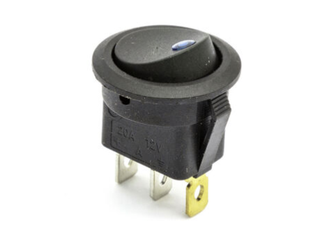 12 Volt DC 20A on/off blue illuminated led switch - 3 pin