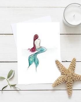 Mermaid Card by Morvenna | Mermaid greeting cards | Mermaid artwork