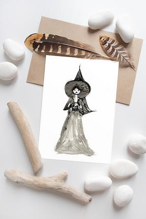 Prophecising witch card by unique Scottish artist Morvenna