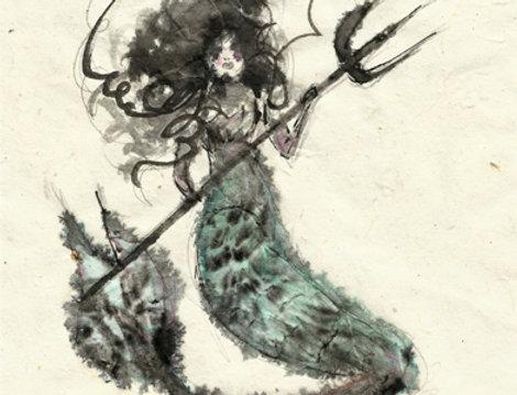 Blurry mermaid card
