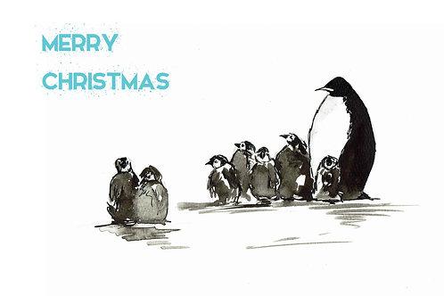 Penguin family Christmas card