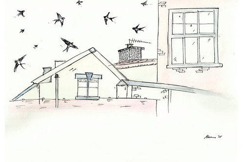 Rooftops and Swallows Print