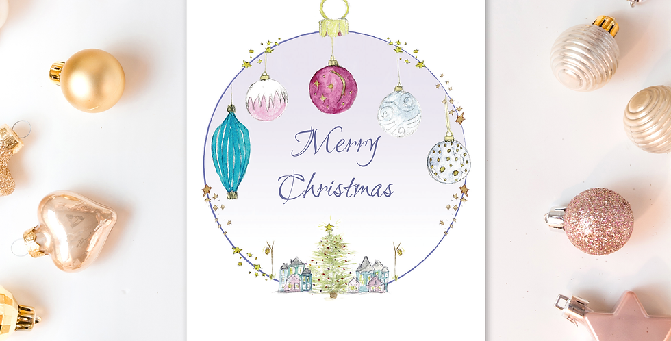 Christmas baubles card