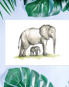 Elephant mum and baby card by Scottish a