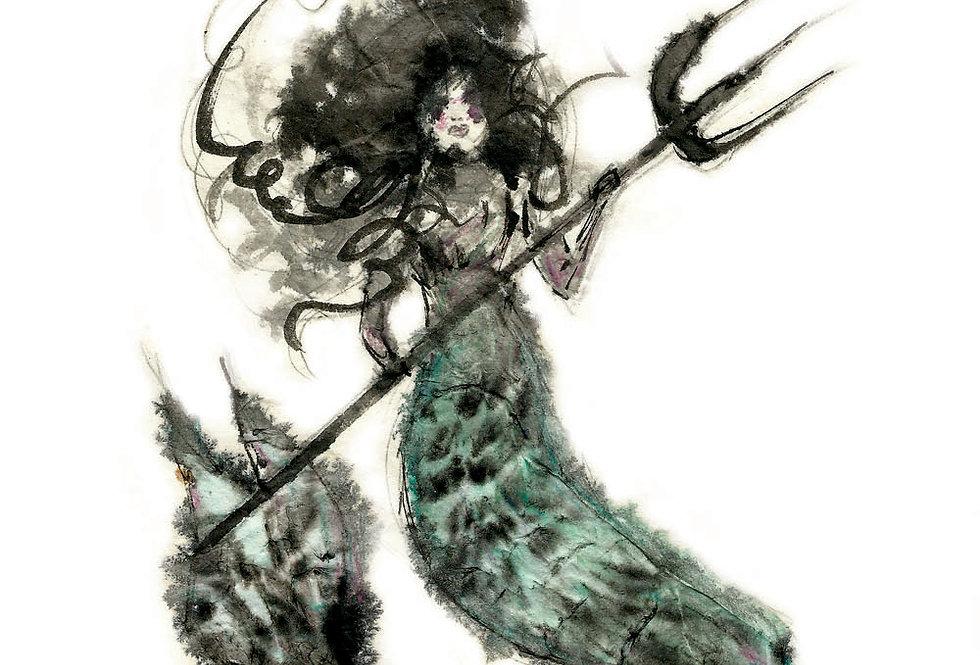 Blurry Mermaid Print
