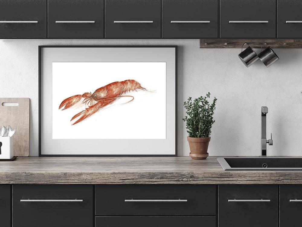 Lobster Print : Unique Scottish Artwork by Morvenna