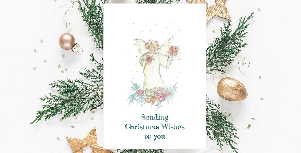 Angel wishes Christmas card