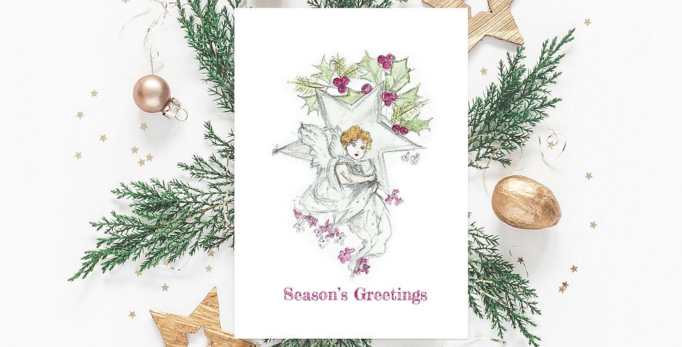 Star cherub Christmas card