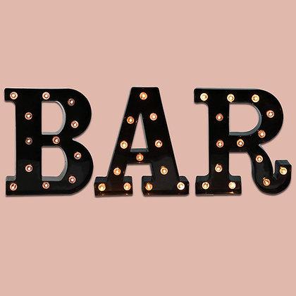 "Black ""BAR"" Illuminated Sign"