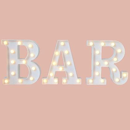 "White ""BAR"" Illuminated Sign"