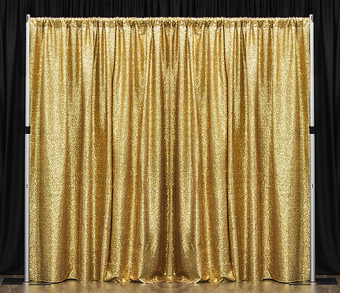 10' Pipe & Drape - Gold Sequin