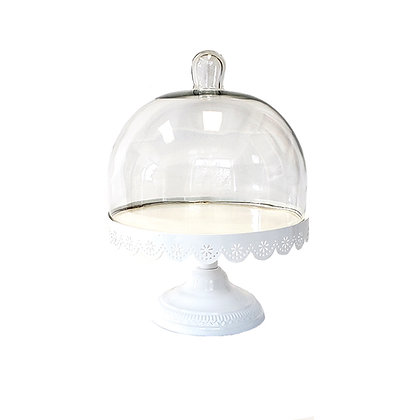 White Lace Glass Dome Cake Stand