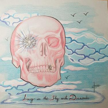 Lucy in the sky with diamonds / Dessin ( crayons de couleur sur papier gris) / 32x32 cm