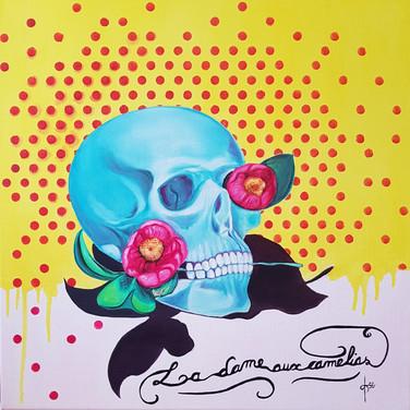 La Dame aux Camélias 2  Huile sur toile 50x50 cm
