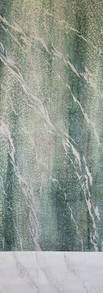 Campan and white veined carrara marble