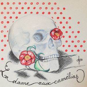 La Dame aux Camélias 1 Dessin (pierre noire, pastel, crayons de couleur sur papier gris) 32x32 cm