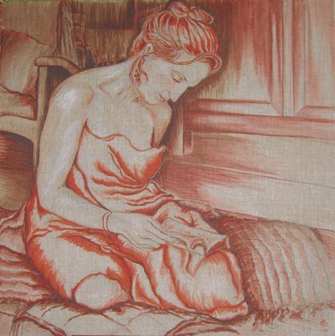 Anne Saint-Girons, Artiste Peintre__Un roman_Huile sur toile_80 x 80 cm_2011_Vendu