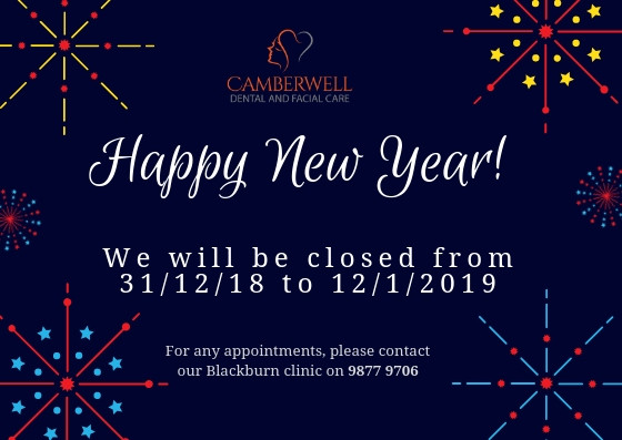 Happy New Year from the team at Camberwell Dental and Facial Care