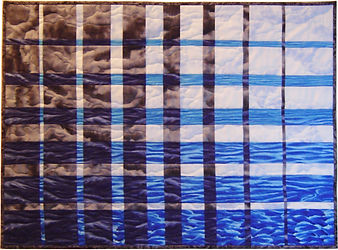 Storm at Sea convergence quilt, depicts a storm rolling up the coast with dark menacing clouds to left and light sky and calm waves to right (from a picture I took)