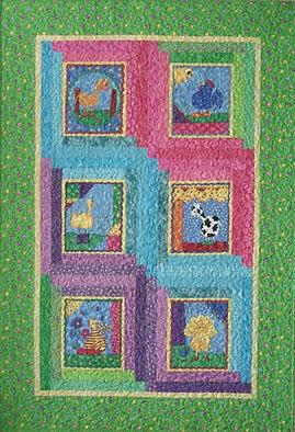 Barnyard Animals, child's lap quilt using animal panels and log cabin blocks