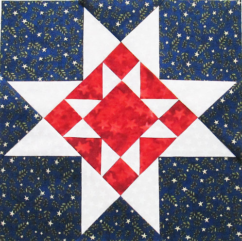 "Double Ohio Star Block, 9"" and 12"", finished"