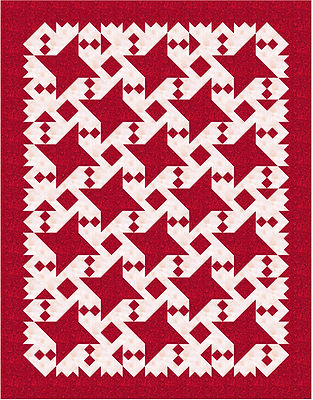 Connecting with Friends, red and white quilt using Friendship Star block