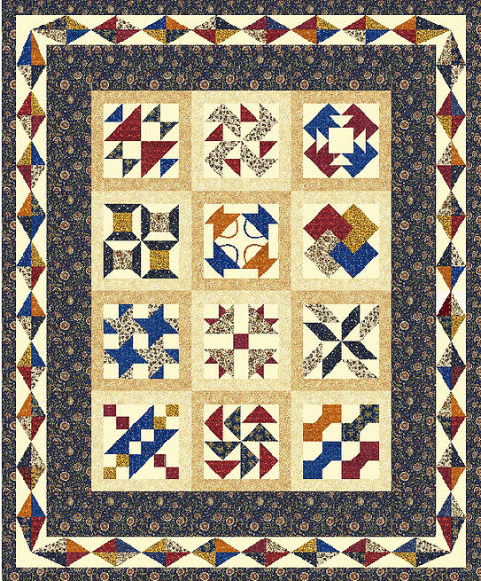 Under the Stars, 2015 Block of the Month Quilt, patchwork and foundation paper pieced