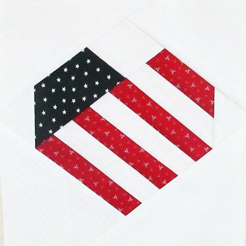 "Patriotic Heart - 4"", 6"", and 8"" Blocks"