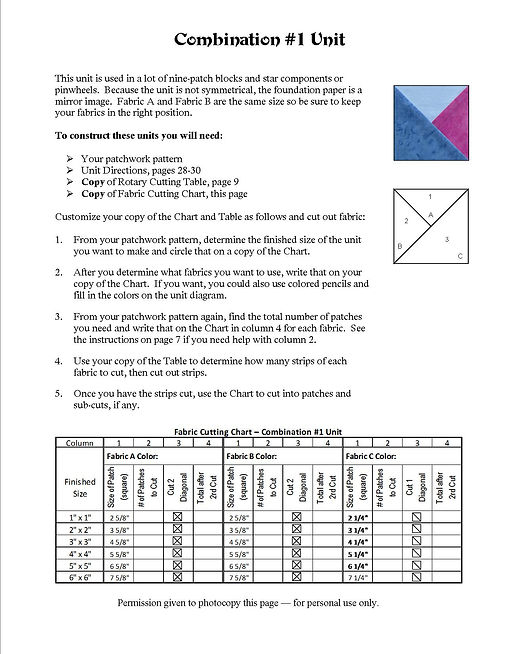 Sample of one element's instruction page with fabric cutting chart