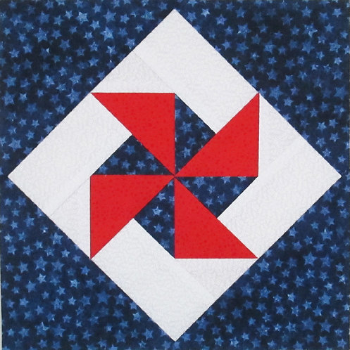 Pinwheel in a Square Paper Pieced Block