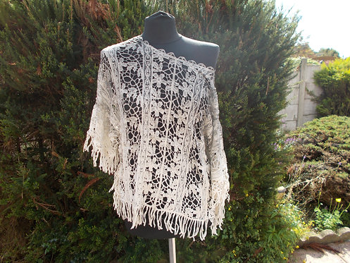 Lacey Crochet Fringed Top