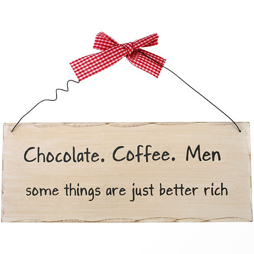 Chocolate, coffee, men plaque