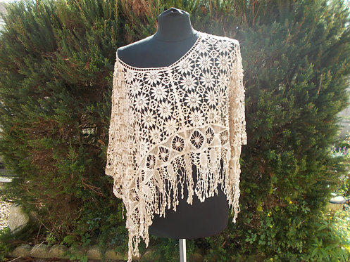 Lacey Crochet Fringed Poncho