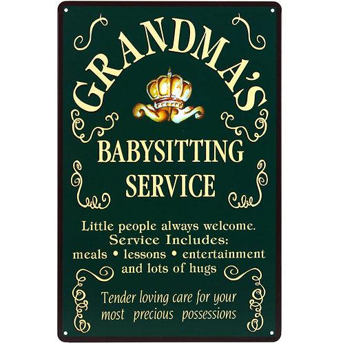 Grandma's metal plaque
