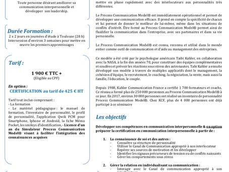 Nouveau à Toulouse : Formation certifiante Process com
