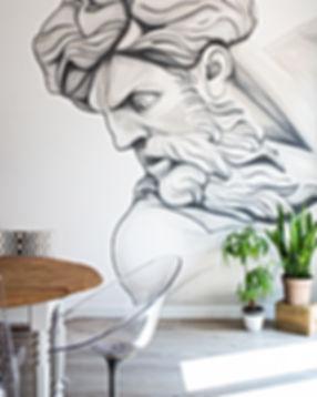 Fresque d'un Dieu grec sur 5m²