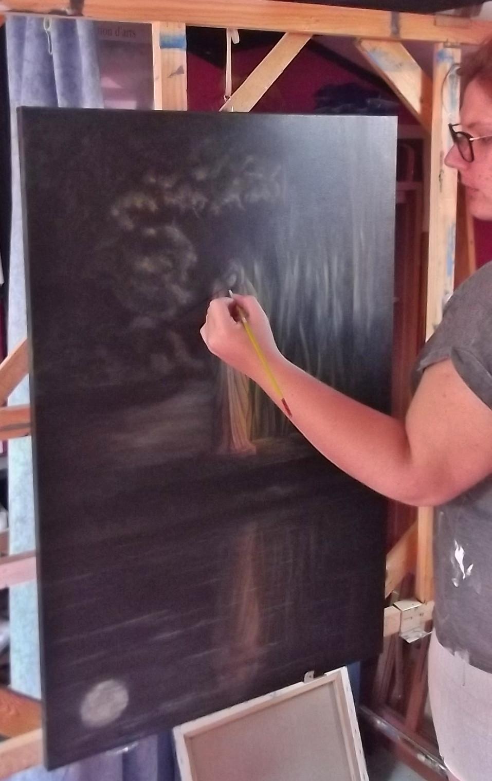 Peinture à l'acrylique sur une toile de 90x60 cm