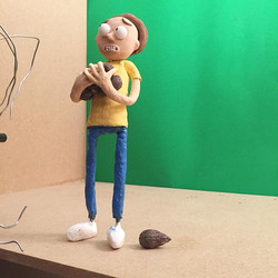 Finished animating two different shots last night, had to take a picture because I loved Morty's pos