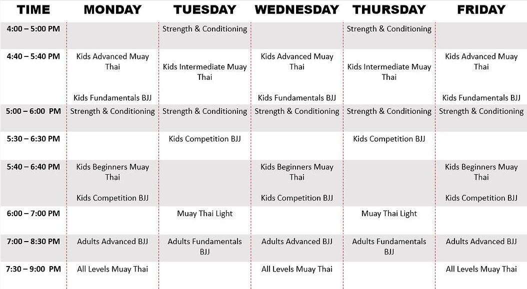 Muay Thai & Jiu Jitsu Class Schedule