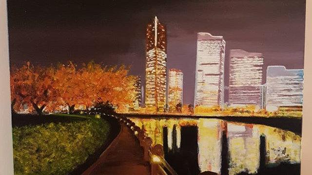 Reflet de ville la nuit