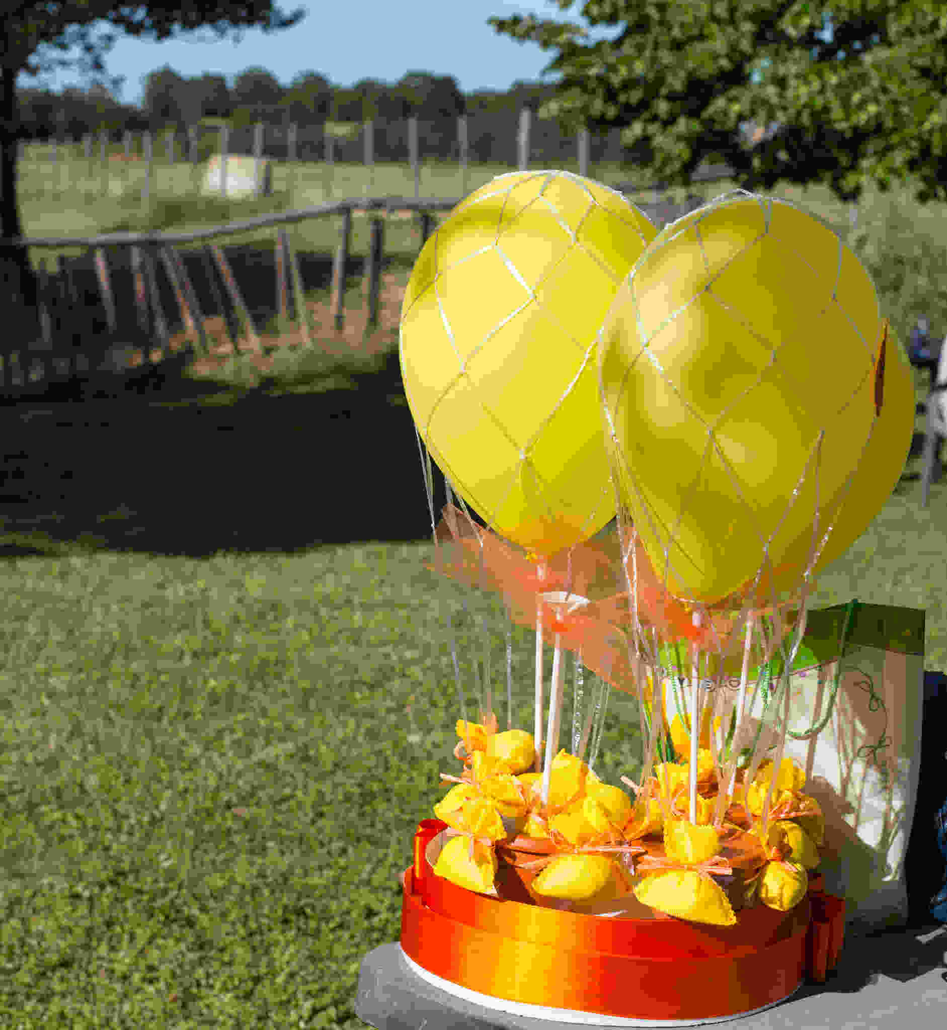 This image shows party decorations and yellow balloons in  an outdoor park location